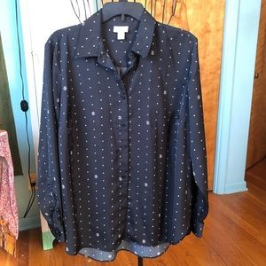 Ava & Viv Star Pattern Button Up Shirt 1X